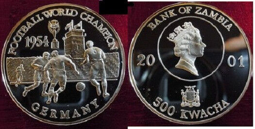 2001 Zambia Large Silver  Proof 500 Kwasha-Soccer World Cup Germany