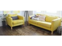 IKEA Karlstad Sofa and armchair in Mustard Yellow