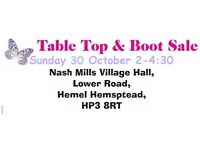 SALE MONTHLY TABLE TOP AND CAR BOOT ALL SELLERS WELCOME TABLES £5