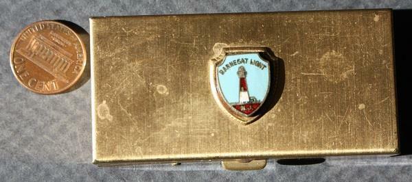 1960s Era Ocean County New Jersey Barnegat Lighthouse gold metal hinged box!