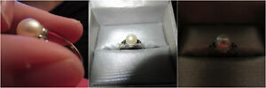White Pearl and Black Diamond Ring in 10K White Gold
