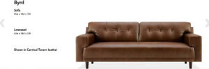 EQ3 Byrd Leather loveseat mint condition