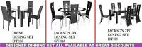 DINING SETS, COFFEE TABLES OTTOMANS CHAIRS BENCHES LAMPS ON SALE