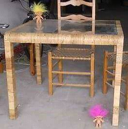 Solid Wood/Bamboo Wicker Glass Top Table(WITH CHAIRS)