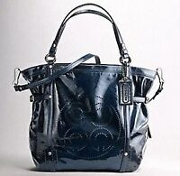 Rare Coach Audrey Patent Leather Navy Blue Bag