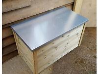 Garden Storage Box with Metal Lid