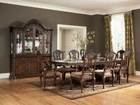 NORTHSHORE PEDESTAL DINING TABLE & HUTCH & BUFFET & 6 CHAIRS