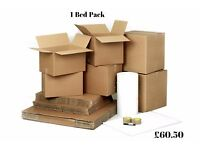 1 bedroom moving pack: 10 x standard boxes, 10 medium boxes, 2 x tape, 25m bubble wrap, 1 x marker