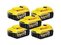 5 x DEWALT DCB184 18V XR 5ah Slide Battery Pack