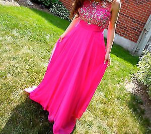 MARLA'S BRIGHT PINK LONG DRESS -SIZE 2 WORN ONCE