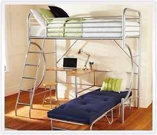 Bensons For Metal High Sleeper With Desk And Futon 99