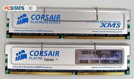 2 X DDR 512MB CORSAIR PLATINUM RAM STICKS