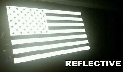 US American Flag REFLECTIVE Car Decal Sticker Patriotic, Auto, Window, Bike, (Flag Reflective Sticker)