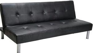 Black leathe futon for sale