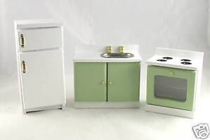 Dollhouse-Miniature-Green-White-Kitchen-Set
