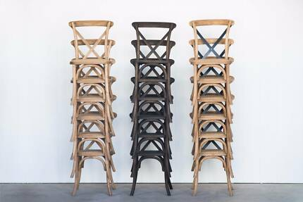Cross Back Chairs - Stackable Oak - Wedding and Event