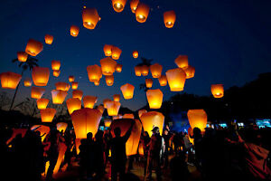 White Paper Chinese Lanterns Sky Fly Candle Lamp for Wish Party London Ontario image 2