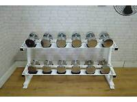 Chrome dumbell set with rack weights commercial gym equipment