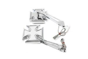 V Twin Mfg. Chrome Maltese Mirror Set Harley Davidson Universal