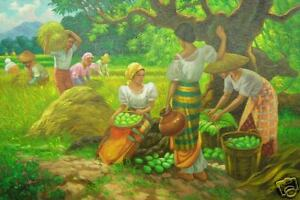 Harvest Season Amorsolo by Magpayo 24x36 Art Philippines Oil Painting NR