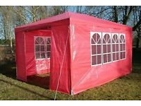3x4M Red Marquee Garden Gazebo Side Wall Panel Party Tent Waterproof Wind-Bar - Used Once Only