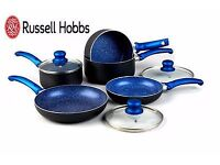 Set of brand new Russell Hobbs 8 piece pan set with lids in beautiful blue