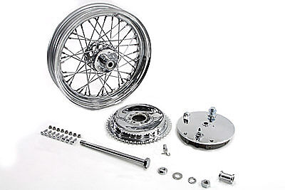 "16"" Chrome Rear Wheel & Brake Drum & Backing Plate & Axle Assembly,XL 1975-1978"