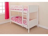 3FT WHITE PAINTED PINE BUNK BEDS- NEVER BEEN ASSEMBLED