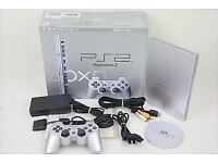 PS2 Satin Silver Console Boxed with 2 controllers and 8MB Memory Card