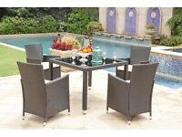 BLACK RATTAN TABLE AND CHAIRS !!! FREE DELIVERY garden patio furniture set for decking or paving