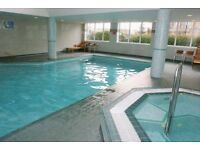 Large one bed apartment, gym, pool, concierge, St David's Square, 10 minutes to Canary Wharf