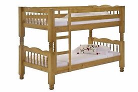 ❋❋ GET THE BEST SELLING BRAND ❋❋ BRAND NEW SINGLE WOODEN BUNK BED -- WHITE AND PINE COLOURS