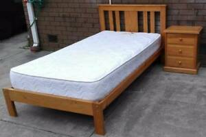 king single timber bed and mattress, with match bedside table Glen Waverley Monash Area Preview