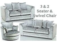 Brand New Dylan Silver Crush velvet Sofa Sets available now in stock for quick delivery