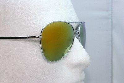 Metal Mirror Aviator green fire mirror lens sunglasses