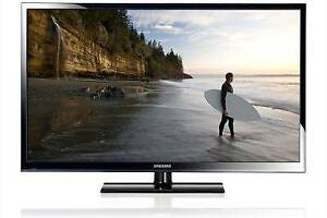 "Samsung 50"" Plasma TV with remote, manuals, and HDMI cable"