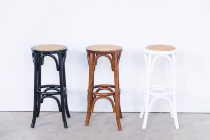 Bentwood Bar Stools - solid Birch - white, black and walnut