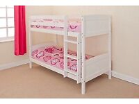 3FT SET OF WHITE PAINTED PINE BUNK BEDS - NEVER ASSEMBLED