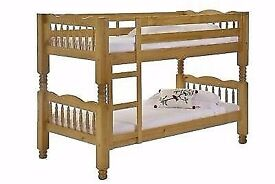 SINGLE BUNK BED WITH 2 DEEP QUILTED MATTRESS AVAILABLE IN WHITE AND WOOD COLOR