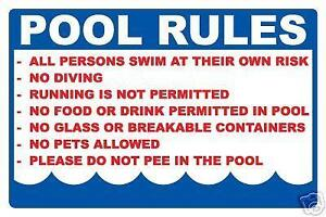 pool rules sign - Pool Signs