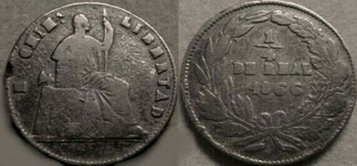 DECENT 1866 MEXICO CHIHUAHUA 1/4 DE REAL COIN