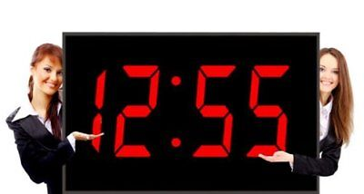 "Large LED Clock Giant 15"" Numeral Red LED Wall Clock With Remote Control"