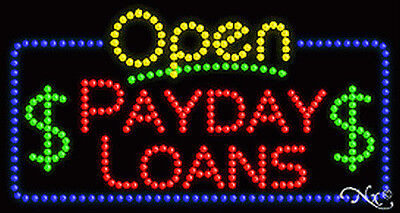 New  Open Payday Loans  32X17 Solid Animated Led Sign W Custom Options 25550