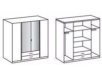 D 3 & 4 DOOR HIGH GLOSS Wardrob