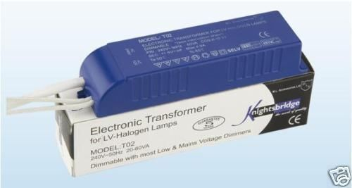 2 x 12 VOLT LOW VOLTAGE ELECTRONIC DIMMABLE TRANSFORMER 20-60 W/VA