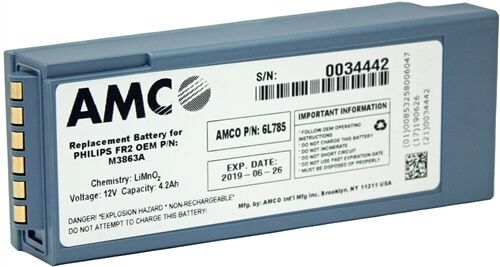 M3863A - AMCO Philips FR2 Replacement Battery - 6L785 - 4 Year Battery