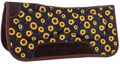 Western Horse Contoured Saddle Pad Brown Wool Felt w/ Sunflowers 31
