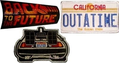 Set Back to the Future Embroidered Patches Delorean Licence Plate Crew Logo