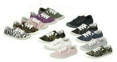 New Womens Lace Up Canvas Shoes Casual Comfy Slip-On Sneakers tennis Size 5-10 ()