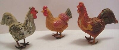 3 Old Composition Italy Chickens for Christmas / Easter Putz or Candy Basket